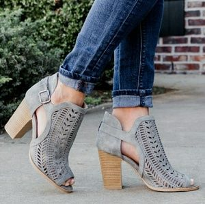 Shoes - Perforated suede peeptoe ankle booties -GRAY